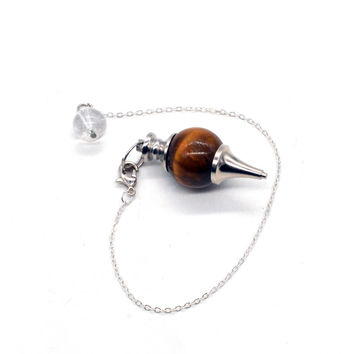 New Arrival Tiger Eye Pendulum Hypnosis Round Shape Necklace Silver Plated Natural Stone Necklaces Pendant Jewelry For Women