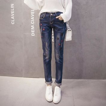 ONETOW 2016Autumn and winter new korean women clothing solid color pockets plus size Pencil pants empire Stonewashed print casual Jeans