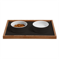DENY Designs Black C Pet Bowl and Tray