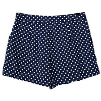 Navy Blue Polka Dot Shorts