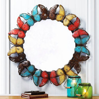 "Multi-Color 36"" Round Artistic Butterfly Iron Framed Wall Mirror Home Decor"
