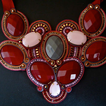 VERY MULBERRY soutache statement necklace in by BlackMarketJewels