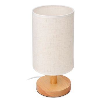 Table Bedside Desk Lamp with Fabric Shade Solid Wood Base E27 Lamp Base