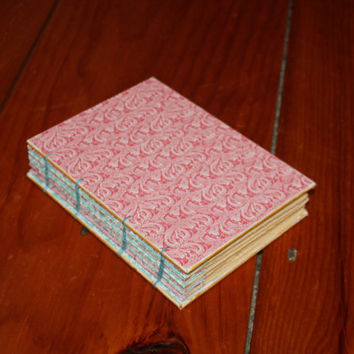 Handmade Coptic Bound Journal With Pink Wave Designs, teen gift, Easter gift, Unique Birthday gift