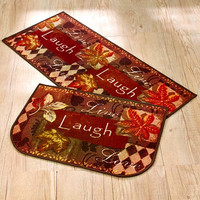 Tapestry Rug Set Runner Autumn Fall Leaves Country Home Decor Live Love Laugh