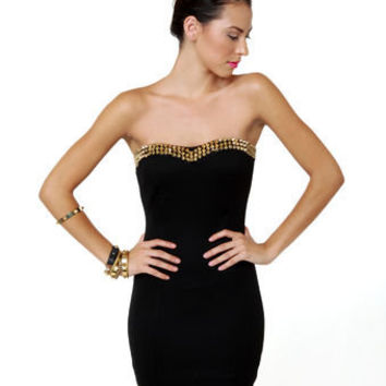 Sexy Strapless Dress - Black Dress - Studded Dress - $33.00
