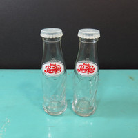 Pepsi Cola Miniature Bottle Salt and Pepper Shakers Vintage Brockway Glass