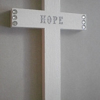 "PERSONALIZED WHITE &  BLING Cross - Wall Cross w/ Silver Glitter Custom Letters and clear rhinestones - 9.5"" x 5.5"""