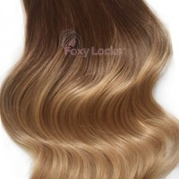 """Honey Spice Ombre - Luxurious Seamless 24"""" Clip In Human Hair Extensions 280g"""