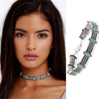 Fashion Boho Collar Choker Silver Necklace jewelry Necklace women Euro Vintage Necklace Bohemia Turquoise Beads
