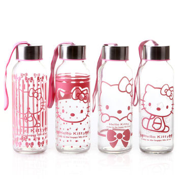 Hello Kitty School Bottle Glass Kids Portable Drinking Kettle Cup Girls Student Cartoon Mug Pink Car Mug