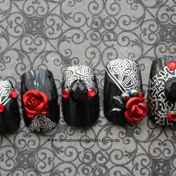 Dark Celtic Soul. Gothic Nail Art, Fake Nail, Japanese 3D Nail Art, Gothic Fake Nail, False Nails Set, Rose, Celtic, Vampire,Press On Nail