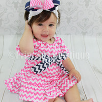 Hot Pink Chevron Baby Infant Toddler Dress