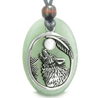 Amulet Howling Wolf Moon Charm Green Quartz White Cats Eye Pendant Necklace
