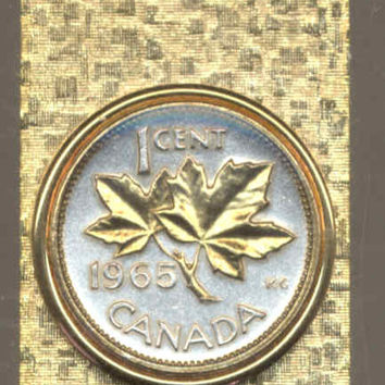 Gorgeous 2-Toned Gold on Silver Canadian  Maple leaf,  Coin - Money clips