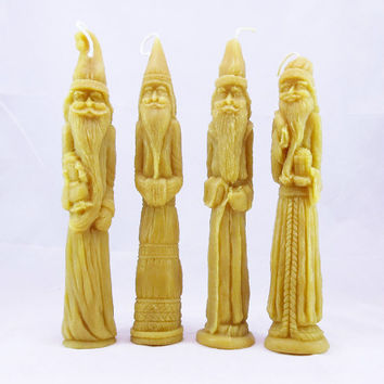 Beeswax Pencil Santa Candles Belsnickle Beeswax Candle Primitive Folk Art Christmas Ornaments 100% Pure Beeswax Honey Scented