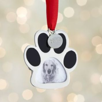 Silver Paw Print Photo Frame with 2014 Charm Ornament