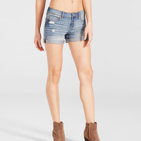 Light Wash Destroyed Denim Midi Shorts