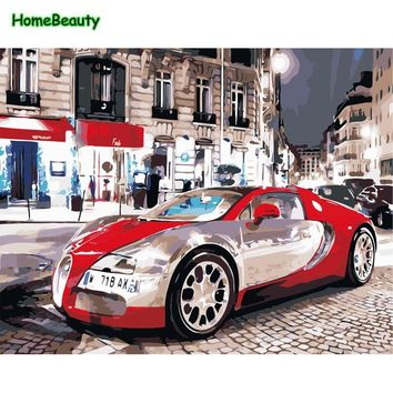 Painting by numbers red car hand-paints on canvas with drawing by number for living room on the wall decoration wall art XY5099