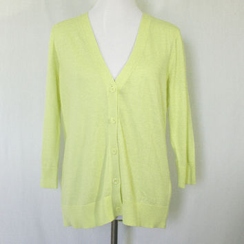 Yellow knit v-neck cardigan with 3/4 sleeves