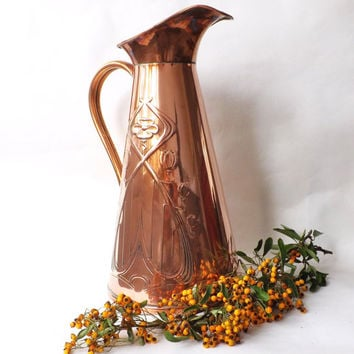 Large Copper Jug, J.S. & S, Sankey Made In England, Art Nouveau Decor,  Antique Copper Vase, Rustic Pitcher, Farmhouse, Cabin, Lodge Decor