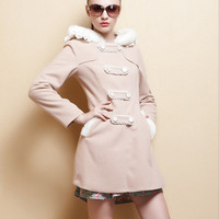 Wool Cape Coat Jacket for Women - ckhaki -Dress    9207
