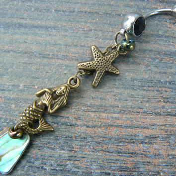abalone mermaid  belly ring with starfish in brass