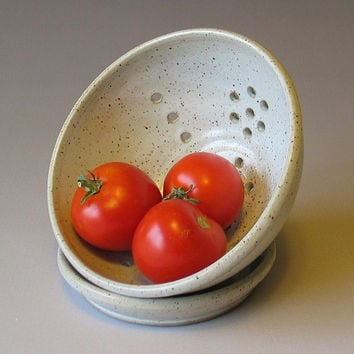 READY TO SHIP - Berry Bowl - Colander - Strainer - Pottery - Stoneware