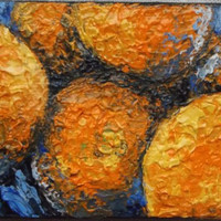 "Mini Oil Painting of Oranges 2.5"" x 3.5"" READY to SHIP"