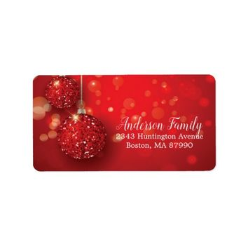 Glitter Ornament Christmas Return Address Label