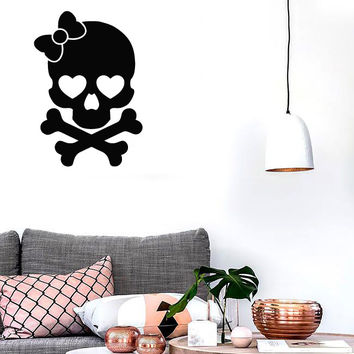 Wall Stickers Vinyl Decal Skull And Bones Girl Funny Cute Decor (z1754)
