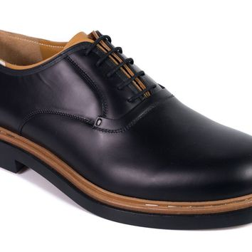 Valentino Mens Black Leather Lace Up Unfinished Derby Shoes