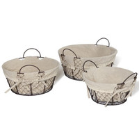 Oval Chicken Wire Baskets With Linen/Lace Liner (Set of 3)