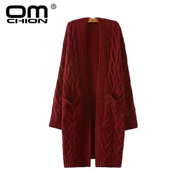OMCHION Winter 2018 Autumn New V Neck Long Cardigan Twist Casual Loose Sweater Women Oversized Poncho Knitted Wear Jumper LS28