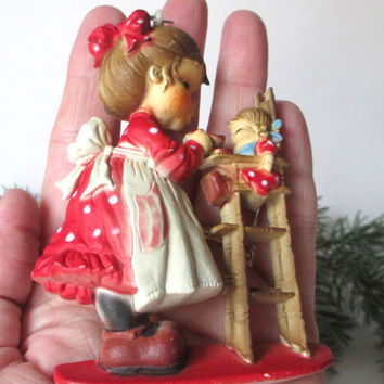 Vintage Christmas Ornament Little Girl Feeding Doll In High Chair Hollie Hobbie Style Red White Brown Molded Plastic