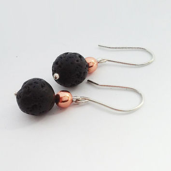 Lava Earrings With Copper & Silver inspired by iceland  - Rock Jewelry - Everyday Use Jewelry - Simple Handmade Jewelry