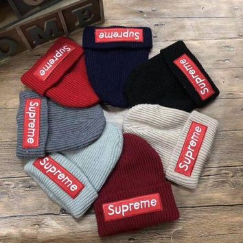 DCCKXT7 Supreme' Autumn Winter Fashion Embroidery Patch Letter Knit Hat Women All-match Thickened Warm Hat