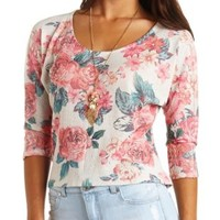 Dolman Sleeve Floral Print High-Low Top - Ivory Combo