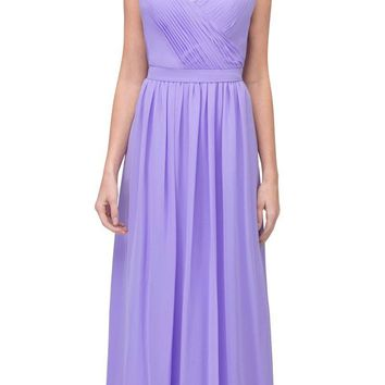 Lilac A-line Long Formal Dress V-Neck Lace Up Back