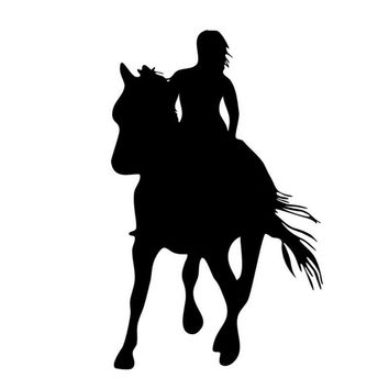 11*18CM Girl Horse Riders Car Sticker Decals Horse Lovers Motorcycle Auto Body Decoration Stickers Decal C2-0084