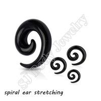 1 pairs Black Acrylic Spiral Ear Gauges Large Size Ear Tapers Stretching Plugs Expanders Pircing Jewelry  (1.6-12mm)