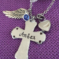 Urn Memorial cremation Jewelry Necklace  - Remembrance Necklace - Sympathy Gift - Memorial Necklace - Angel Wing - Cross