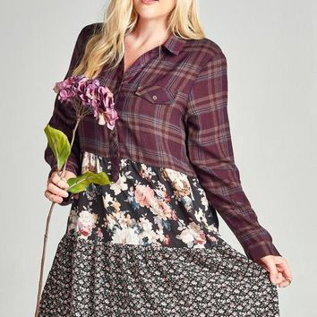Gemma Tiered Plaid Floral Dress | Plus