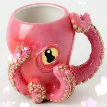 2017 Ceramic Pink Octopus Mug  Tentacle Handle  - Octopus Design  3D Tentacles & Big Eye, Fans and Steampunk Enthusiasts - 12 oz