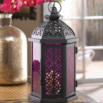 Exotic Moroccan Style Iron And Glass Candle Lantern