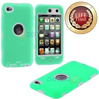 myLife Light Mint Green + White Armored Survivor (Built-In Screen Protector) Shockproof Case for iPod 4 (4G) 4th Generation iTouch (Full Body Armor Outfit + Soft Silicone External Shock Proof Gel + 2 Piece Internal Snap On Shield)