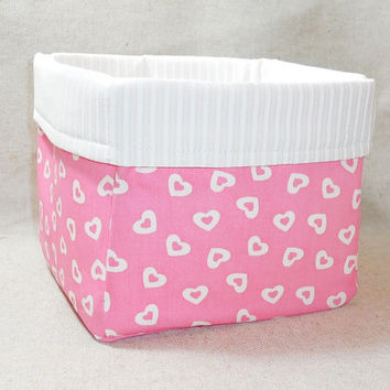 Pink and White Fabric Basket For Storage Or Gift Giving