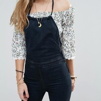 Free People Hearts Fire Denim Halterall at asos.com