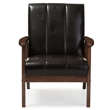 Baxton Studio Nikko Mid-century Modern Scandinavian Style Dark Brown Faux Leather Wooden Lounge Chair Set of 1