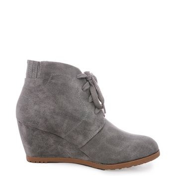 Gray Fiona Suede Lace Up Wedge Bootie